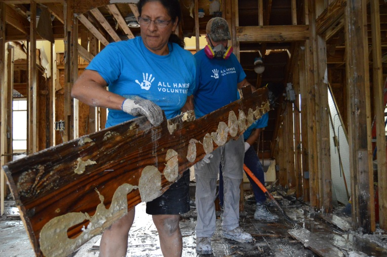 One SC Flood Relief Fund grantee All Hands Volunteers working to rebuild a flood destroyed home in SC